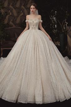 Vestido de novia Corpiño Acentuado con Perla Natural Escote con Hombros caídos