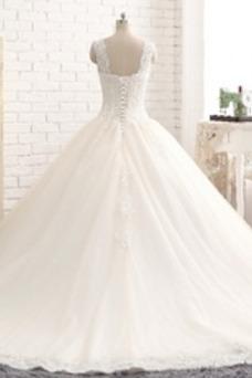 Vestido de novia Natural Espalda Descubierta Corte-A tul Sin mangas