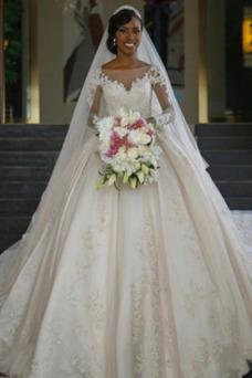 Vestido de novia Manga larga Apliques Satén Corte-A Formal Capa de encaje