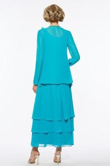 Vestido de madrina Manga larga Cremallera Drapeado Gasa Corte-A Con Chaqueta