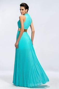 Vestido de noche Gasa Sin mangas Blusa plisada Elegante Dobladillos