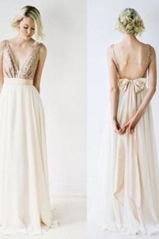 Vestido de dama de honor Escote en V Elegante Arco Acentuado Corte-A Natural