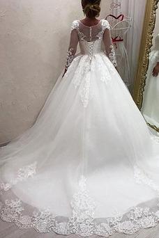 Vestido de novia Corte-A Pura espalda Mangas Illusion Natural Capa de encaje