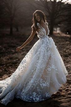 Vestido de novia Playa Natural Corte-A Escote en V tul Espalda Descubierta