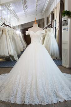 Vestido de novia Cordón tul Corte-A Escote con Hombros caídos Otoño