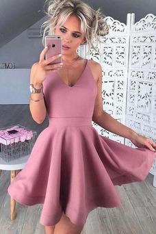 Vestido de cóctel Satén Natural Corte-A Cremallera primavera Drapeado