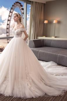 Vestido de novia Corte-A largo Escote con Hombros caídos Manga tapada