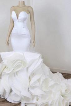 Vestido de novia vendimia Cascada de volantes Corte Sirena Sin mangas
