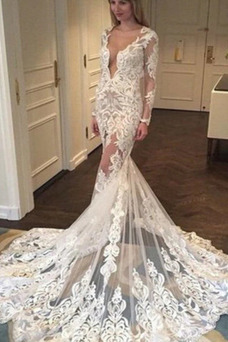 Vestido de novia Corte Sirena Verano Mangas Illusion Formal Apliques