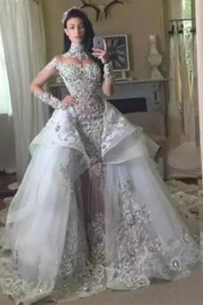 Vestido de novia Escalonado Escote con cuello Alto Manga larga Mangas Illusion