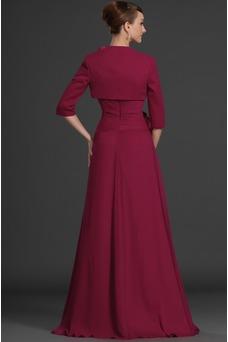 Vestido de madrina 2015 Rosetón Acentuado Cola Barriba Natural Borgoña
