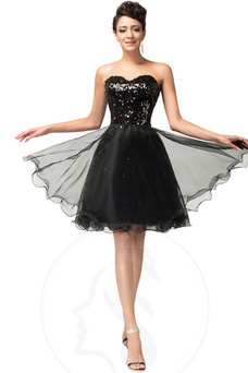 Vestido de graduacion Natural Glamouroso Falta Sin mangas tul Escote Corazón