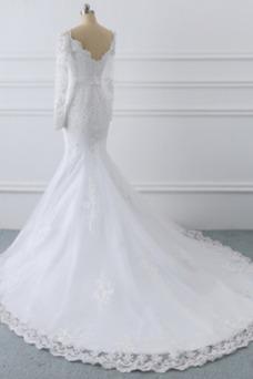 Vestido de novia Manga larga Encaje Triángulo Invertido Cremallera largo