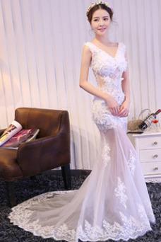 Vestido de fiesta Corte Sirena Sin mangas Flores Transparente tul Falta