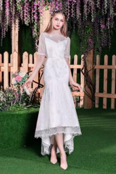 Vestido de novia Encaje Corte Sirena Manga corta Fuera de casa Encaje