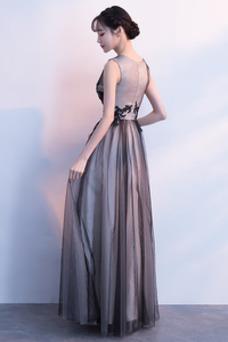 Vestido de fiesta tul Escote en V Sin mangas Natural Hasta el Tobillo