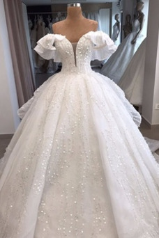 Vestido de novia Formal Abalorio Natural Cola Real Reloj de Arena Escote con Hombros caídos