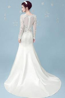 Vestido de novia Invierno Satén Natural Formal Corte Sirena Cremallera