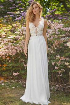 Vestido de novia Pura espalda Apliques Sin mangas Gasa Capa de encaje