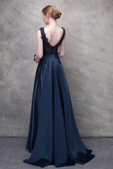 Vestido de noche Sin mangas Corte-A Cremallera Natural Encaje Corpiño Acentuado con Perla