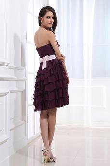 Vestido de dama de honor Capa Multi Oscilación Hasta la Rodilla Verano Natural
