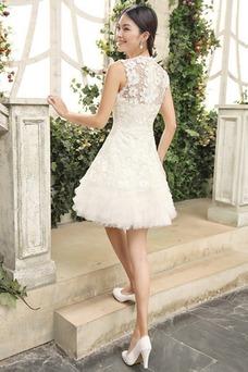 Vestido de novia Joya Sin mangas Encaje Informal Verano Alto cubierto