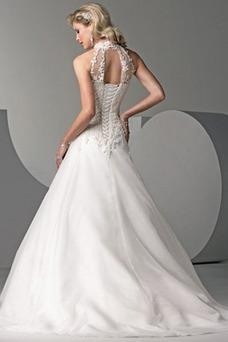 Vestido de novia Sin cintura Cordón Abalorio largo Corte-A Clasicos