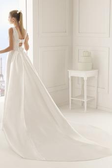 Vestido de novia Cristal Modesto Natural Sin mangas Iglesia Satén