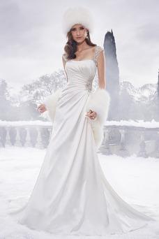 Vestido de novia Elegante largo Manga tapada Satén Manga corta Invierno