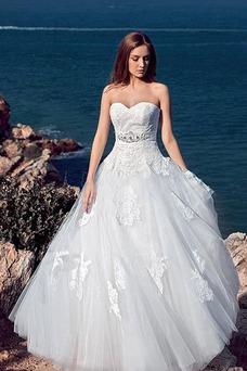 Vestido de novia Cola Capilla Encaje Playa Escote Corazón Cordón Bola