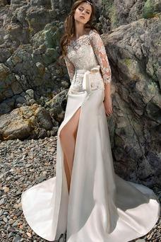 Vestido de novia sexy Alto cubierto Cola Barriba Barco primavera Fajas