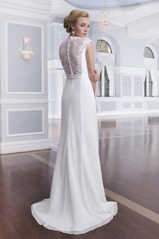 Vestido de novia Cola Barriba Gasa Fuera de casa Plisado Manga corta