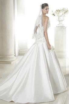 Vestido de novia Cola Capilla Con velo Colores Cintura Baja Otoño Escote Corazón