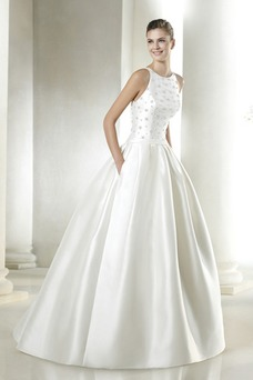 Vestido de novia Colores Corte-A Satén Cola Capilla Bolsillos Natural