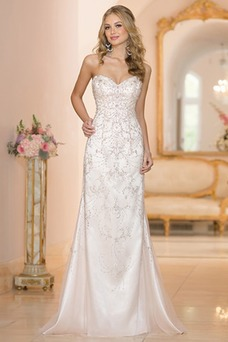 Vestido de novia Espectaculares Natural largo primavera Sin mangas Apliques