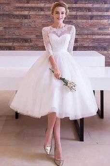 Vestido de novia Arco Acentuado Manga de longitud 3/4 Camiseta tul Elegante