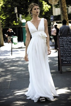 Vestido de novia Sin mangas Blusa plisada Escote en V Imperio Cintura