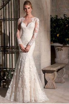 Vestido de novia largo Joya Alto cubierto primavera Encaje Mangas Illusion