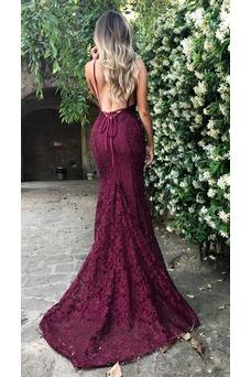 Vestido de noche Elegante largo Cordón Natural Falta Capa de encaje
