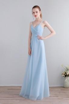 Vestido de dama de honor Elegante Escote de Tirantes Espaguetis Sin mangas Corte-A