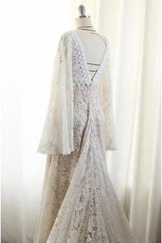 Vestido de novia Imperio Imperio Cintura Cola Corte Espalda Descubierta