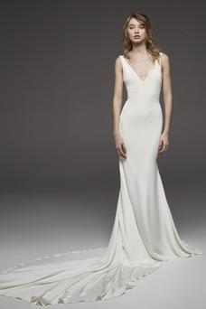 Vestido de novia Natural Escote en V Falta Corte Recto Sin mangas Espalda medio descubierto