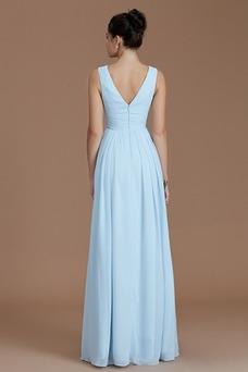 Vestido de dama de honor largo Natural Plisado Elegante Cremallera Triángulo Invertido