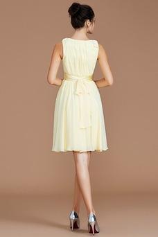 Vestido de dama de honor Sencillo Drapeado Sin mangas Natural Escote en V Gasa