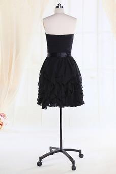 Vestido de dama de honor Gasa Flores gris oscuro Cremallera Escote Corazón Rectángulo