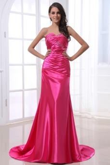Vestido de noche Sin tirantes cereza Plisado fantasía Glamouroso Cordón