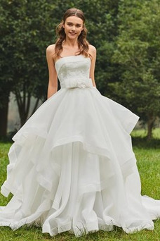 Vestido de novia Playa Espalda Descubierta Drapeado Organza Corte-A