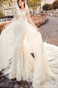 Vestido de novia Natural Mangas Illusion Barco Iglesia Cola Corte tul