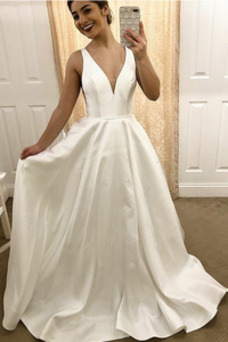 Vestido de novia Verano Drapeado Corte-A Espalda Descubierta Natural