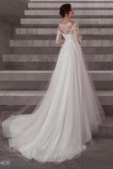 Vestido de novia Sencillo Joya Mangas Illusion largo Encaje Embarazadas